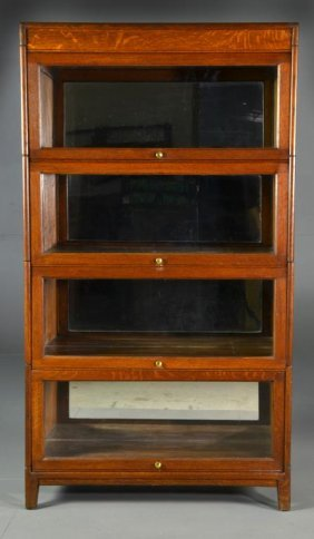 Antique Four Stack Oak Lawyers Cabinet Lot 141