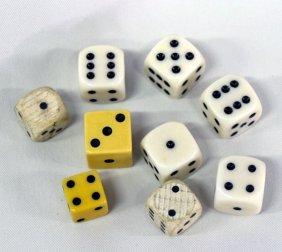 9 Die (Dice); Wood, Ivory & Bakelite