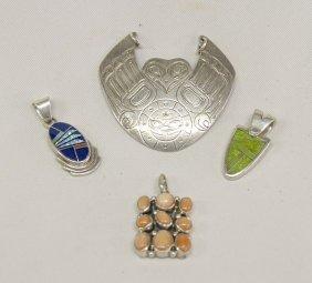 4 Silver Navajo & Northwest Pendants 2'' Largest