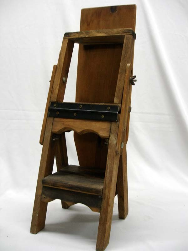 Antique Primitive Wood Ironing Board Chair Ladder Lot 1403