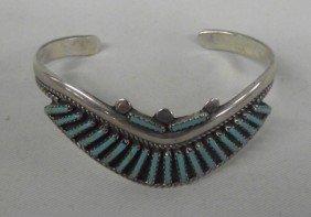 1960s Zuni Sterling Turquoise Petit Point Bracelet
