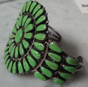 Navajo Sterling Mojave Turquoise Cluster Bracelet