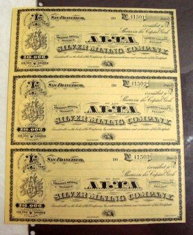 Alva Silver Mining 3 Early 1900s Stock Certificate