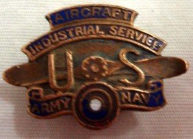 US Army Navy Aircraft Industrial Service WW1 Pin