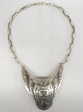 Hopi Sterling Necklace & Hand-made Chain, Signed