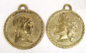 Jesus Christ And Mother Mary Brass Medallions