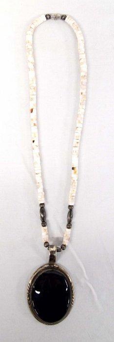 Vintage Navajo Sterling Onyx Pendant Necklace
