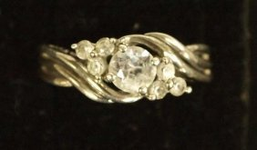 Sterling Silver And Diamond Ring, Size 5
