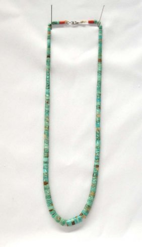 1940 Navajo Natural Turquoise Heishi Necklace