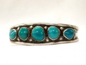 1960 Navajo Sterling Turquoise Cuff Bracelet
