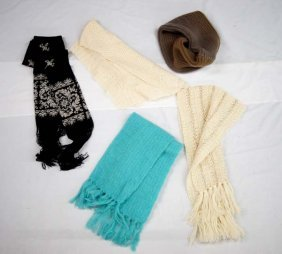 4 Wool Neck Scarves And 1 Neck Collar