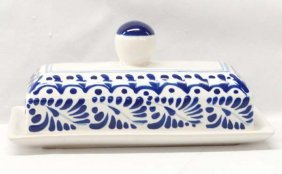 1999 Mexican Taladura Pottery Covered Butter Dish