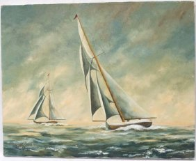 Original Sailboat Painting By Kay Kaercker