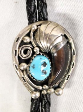 Navajo Sterling Silver Turquoise Bolo Tie