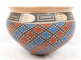 Mexican Mata Ortiz Polychrome Bowl By Yolanda Soto