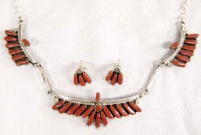 Zuni Silver Petit Point Coral Necklace + Earrings