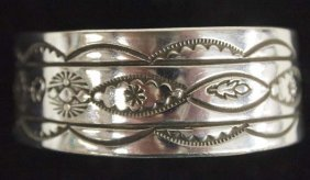 Navajo Sterling Silver Hand Stamped Cuff Bracelet