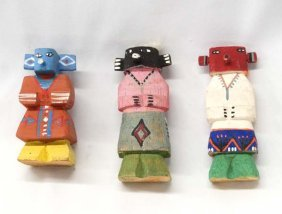 3 Native American Route 66 Carved Wood Kachinas