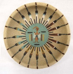 Native American Navajo Sand Painted Sun Bowl