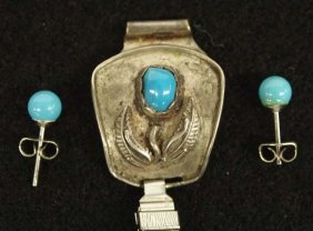 Navajo Sterling Turquoise Watchband And Earrings