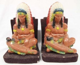 Pair Of 1940 Indian Chief Chalk Bookends
