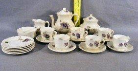 Childs Tea Set, Circa 1900, 6 Cups & Saucers, Teapo