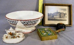 English Pottery Fruit Bowl (chip), Lacquered Box,
