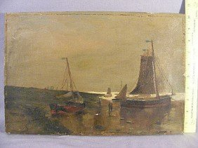 Oil Painting On Canvas Of European Shore Scene, Un