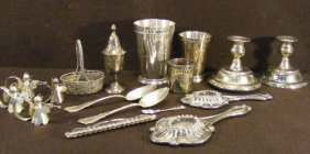 Misc. Lot Of Silverplate And Pewter Including Tumb