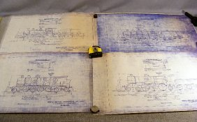 Lot Of Approx. 38 Blueprints Of Train Locomotives,