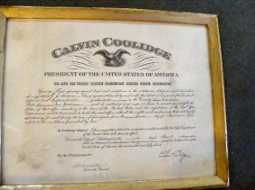 Signed Calvin Coolidge Appointment Of  Elbert J. E
