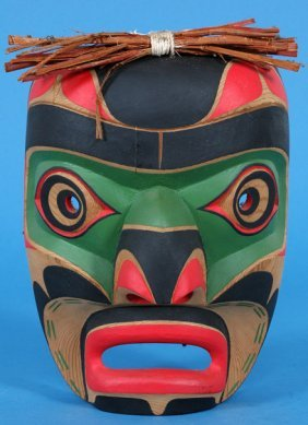 "Kwag-uilth Speaker Mask By Gene Brabant 10 3/4"" H."
