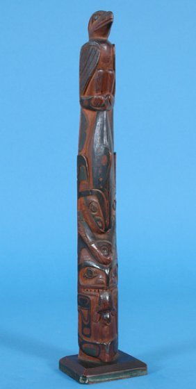 Superb 19TH C. Haida Totem Carved With Wasco, Hali