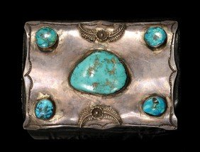 Navajo Silver And Turquoise Ketoh (Bow Guard) Ca. 1