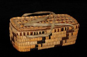 Fully Imbricated Salish Basket With Lid And Leather