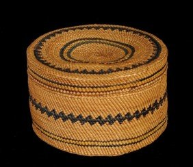 Makah Lidded Basket Very Finely Woven With Geometri