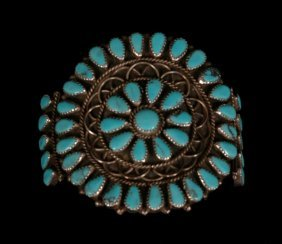 Navajo Silver And Turquoise Cluster Bracelet 60 GMS