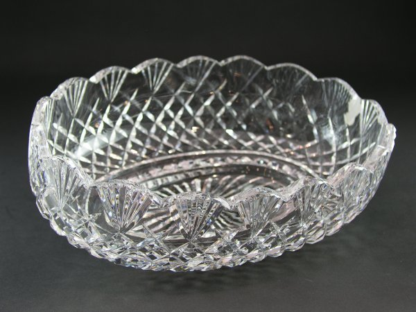 1085 Large Waterford Crystal Oval Bowl Vase Lot 1085