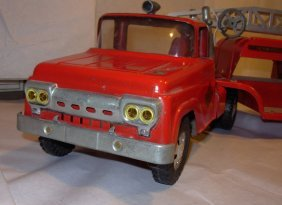 Tonka Aerial Ladder Fire Tractor Trailer, 1959 Very