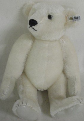 Newer Jointed Steiff Mohair White Teddy Bear With B