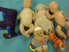 Boxlot Of Misc. Dolls And Stuffed Animals Including