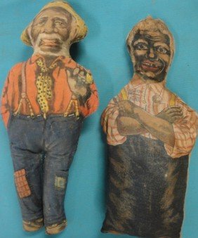 Two Uncle Mose (Aunt Jemima's Husband) Cloth Dolls