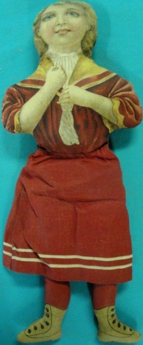 Beautiful Late 19th C. Cloth Doll Of Young Lady Dr