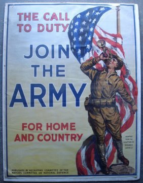 Original WWI Military Recruiting Poster.