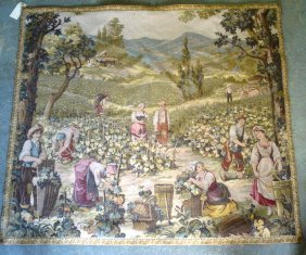 French Tapestry - Farm Workers In Vineyard - 4' 8