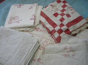 Grouping Of Red/white Figural Kid's Quilts