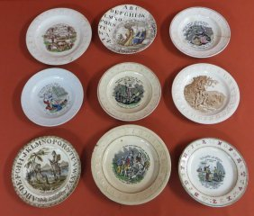 "Nine Early Alphabet Plates. 6.5"" To 8""D.Provenance"