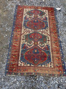 Oriental Scatter Rug. Some Wear. Probably Late 19t