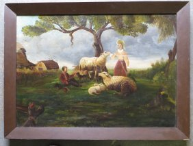 O/C Pastoral Scene With Lady With Sheep And Bow Wi