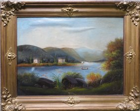 O/C Applied To Board - Hudson River Scene With Hou